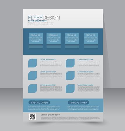 Flyer template. Business brochure. Editable A4 poster for design education presentation website magazine cover. Blue color.