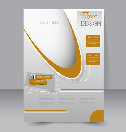 business flyer: Flyer template. Business brochure. Editable A4 poster for design, education, presentation, website, magazine cover. Brown color. Illustration