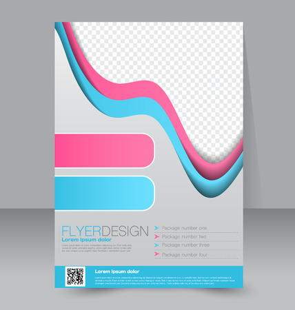 Flyer template. Business brochure. Editable A4 poster for design, education, presentation, website, magazine cover. Blue and pink color. Ilustração