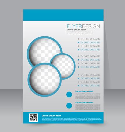 Flyer template. Business brochure. Editable A4 poster for design, education, presentation, website, magazine cover. Blue color.