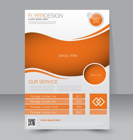 Flyer template. Business brochure. Editable A4 poster for design, education, presentation, website, magazine cover. Orange color.