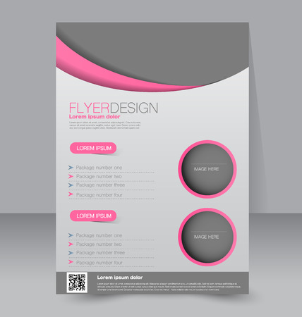 magazine layout: Flyer template. Business brochure. Editable A4 poster for design, education, presentation, website, magazine cover. Pink and grey color.