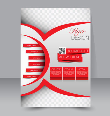 Flyer template. Business brochure. Editable A4 poster for design education presentation website magazine cover. Red color.