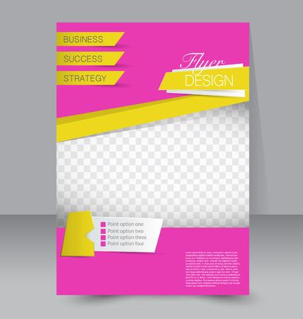 sjabloon: Flyer sjabloon. Zakelijke brochure. Bewerkbare A4 poster voor ontwerp, onderwijs, presentatie, website, magazine cover. Roze en gele kleur. Stock Illustratie