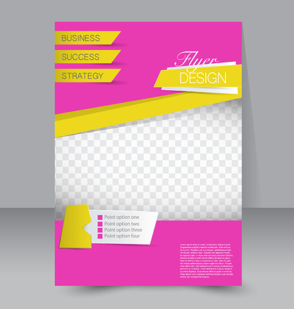 magazine page: Flyer template. Business brochure. Editable A4 poster for design, education, presentation, website, magazine cover. Pink and yellow color.