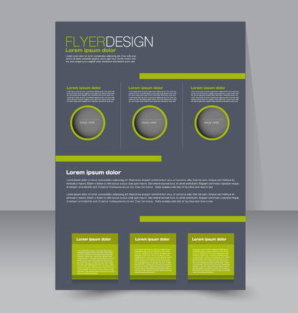 Flyer template. Business brochure. Editable A4 poster for design, education, presentation, website, magazine cover. Green and grey color.