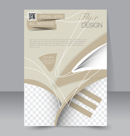 Flyer template. Business brochure. Editable A4 poster for design, education, presentation, website, magazine cover. Sand color.