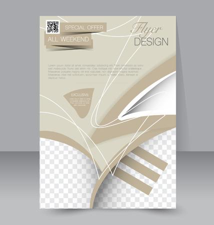 Flyer template. Business brochure. Editable A4 poster for design, education, presentation, website, magazine cover. Sand color.