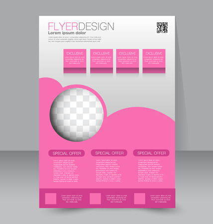 magazine page: Flyer template. Business brochure. Editable A4 poster for design, education, presentation, website, magazine cover. Pink color.