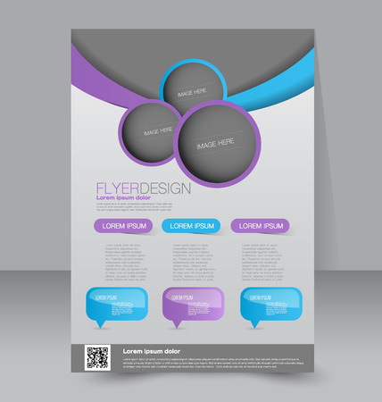 Flyer template. Business brochure. Editable A4 poster for design, education, presentation, website, magazine cover. Blue and purple color.