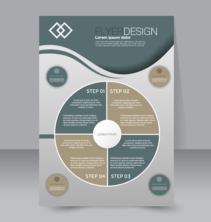 Flyer template. Business brochure. Editable A4 poster for design, education, presentation, website, magazine cover. Green and brown color.