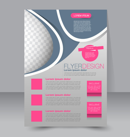 editable: Flyer template. Business brochure. Editable A4 poster for design, education, presentation, website, magazine cover. Grey and pink color.