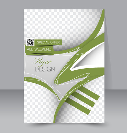 Flyer template. Business brochure. Editable A4 poster for design, education, presentation, website, magazine cover. Green color.