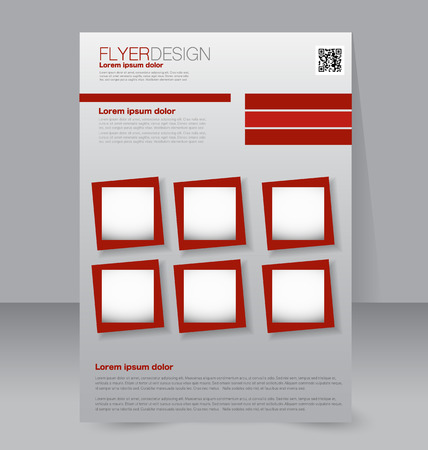 editable: Flyer template. Business brochure. Editable A4 poster for design, education, presentation, website, magazine cover. Red color.