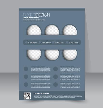 Flyer template. Business brochure. Editable A4 poster for design, education, presentation, website, magazine cover. Grey color.