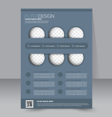 Flyer template. Business brochure. Editable A4 poster for design, education, presentation, website, magazine cover. Grey color.