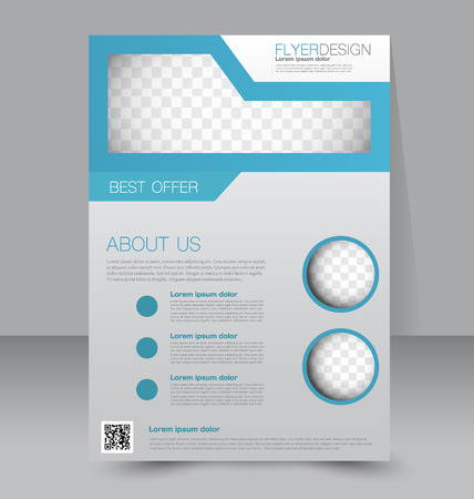 template: Flyer template. Business brochure. Editable A4 poster for design, education, presentation, website, magazine cover. Blue color.