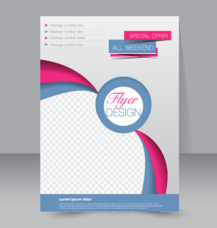 Flyer template. Business brochure. Editable A4 poster for design, education, presentation, website, magazine cover. Blue and pink color. Stock Illustratie