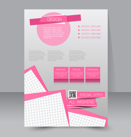 pink: Flyer template. Business brochure. Editable A4 poster for design, education, presentation, website, magazine cover. Pink color.