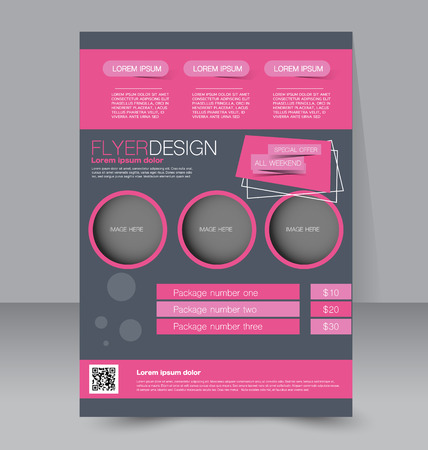 Flyer template. Business brochure. Editable A4 poster for design, education, presentation, website, magazine cover. Pink and grey color.