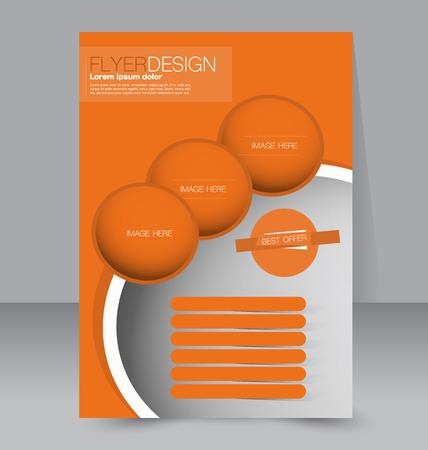 Flyer template. Business brochure. Editable A4 poster for design education presentation website magazine cover. Orange color.