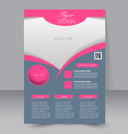 Flyer template. Business brochure. Editable A4 poster for design education presentation website magazine cover. Grey and pink color.
