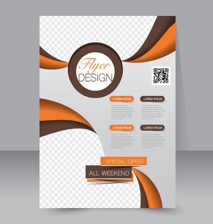 Modèle Flyer. Brochure d'affaires. Affiche A4 modifiable pour l'enseignement du design couverture de magazine de site de présentation. Orange et brun.