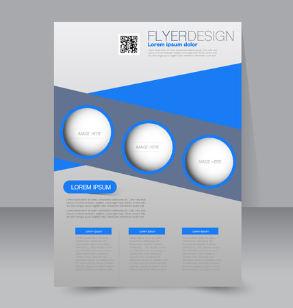 Flyer template. Business brochure. Editable A4 poster for design education presentation website magazine cover. Blue color.