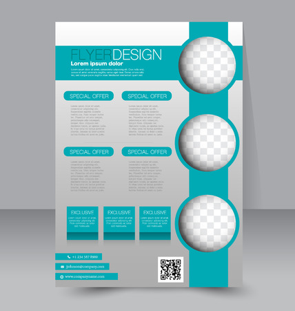 Flyer template. Business brochure. Editable A4 poster for design education presentation website magazine cover. Green color.