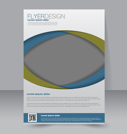 Flyer template. Business brochure. Editable A4 poster for design education presentation website magazine cover. Blue and green color.