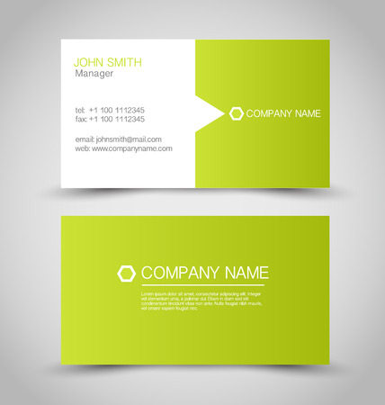 Business card set template. Green and white color. Vector illustration. Ilustração
