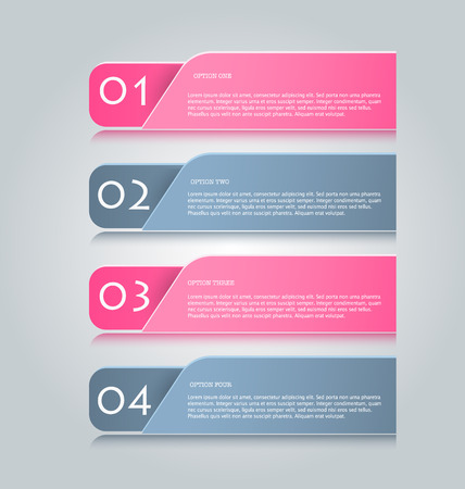 info graphic: Business infographics tabs template for presentation, education, web design, banner, brochure, flyer. Pink and grey colors. Vector illustration.