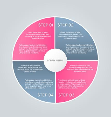 Business infographics tabs template for presentation, education, web design, banner, brochure, flyer. Pink and grey colors. Vector illustration.