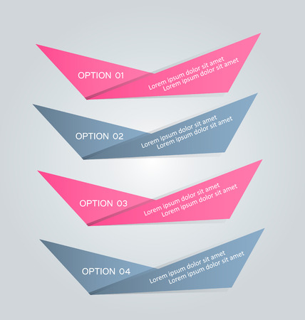 tabs: Business infographics tabs template for presentation, education, web design, banner, brochure, flyer. Pink and grey colors. Vector illustration.