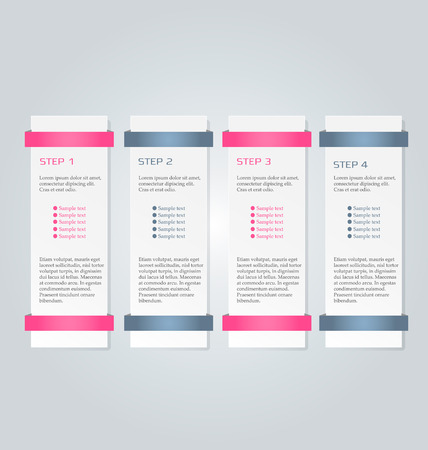 inforgraphic: Business infographics tabs template for presentation, education, web design, banner, brochure, flyer. Pink and grey colors. Vector illustration.
