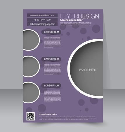 Flyer template. Business brochure. Editable A4 poster for design, education, presentation, website, magazine cover. Purple color.