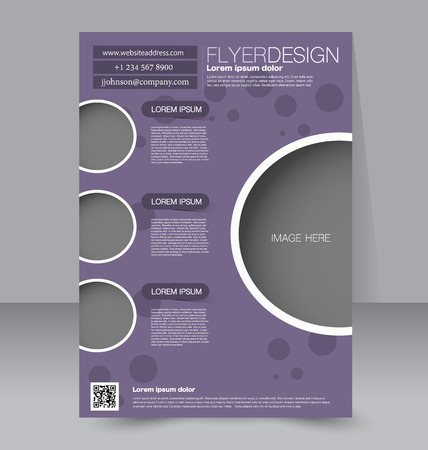 Flyer template. Business brochure. Editable A4 poster for design, education, presentation, website, magazine cover. Purple color.