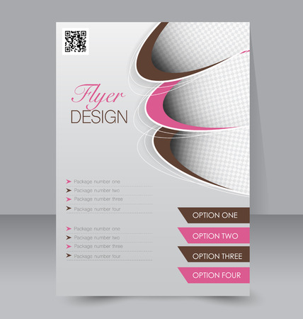 Flyer template. Business brochure. Editable A4 poster for design, education, presentation, website, magazine cover. Pink and brown color. Illustration