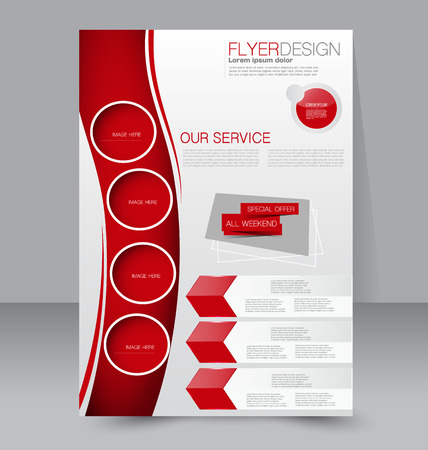 Flyer template. Business brochure. Editable A4 poster for design, education, presentation, website, magazine cover. Red color.