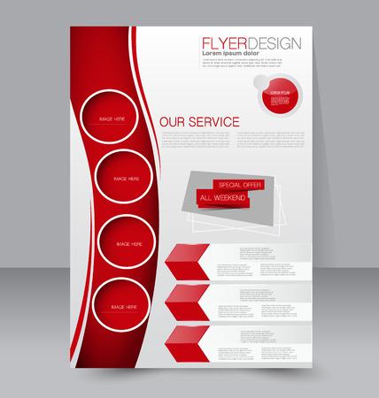Plantilla del aviador. Folleto del asunto. Editable cartel A4 para el diseño, la educación, la presentación, sitio web, portada de la revista. Color rojo. Foto de archivo - 42606760
