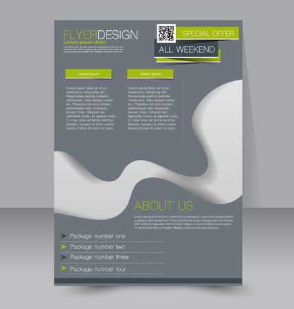 poster template: Flyer template. Business brochure. Editable A4 poster for design, education, presentation, website, magazine cover. Grey and green color.