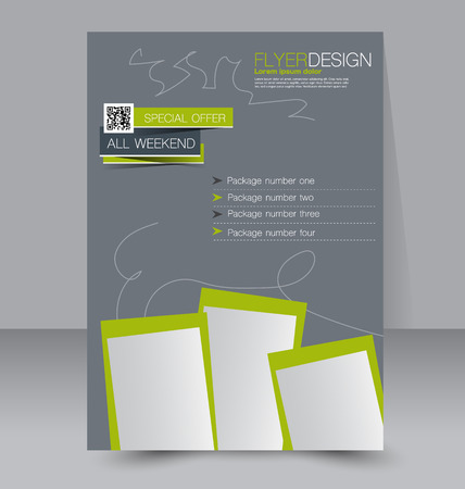 flyer layout: Flyer template. Business brochure. Editable A4 poster for design, education, presentation, website, magazine cover. Grey and green color.