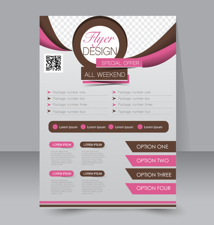 Flyer template. Business brochure. Editable A4 poster for design, education, presentation, website, magazine cover. Pink and brown color. Ilustração