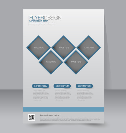 editable: Flyer template. Business brochure. Editable A4 poster for design, education, presentation, website, magazine cover. Blue color.