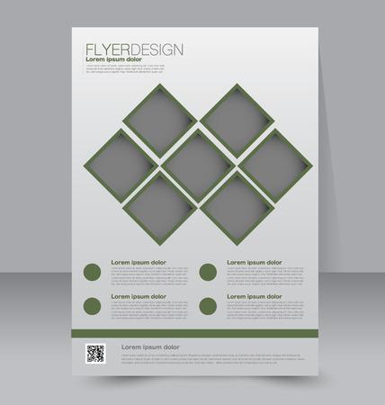 sjabloon: Flyer sjabloon. Zakelijke brochure. Bewerkbare A4 poster voor ontwerp, onderwijs, presentatie, website, magazine cover. Groene kleur. Stock Illustratie