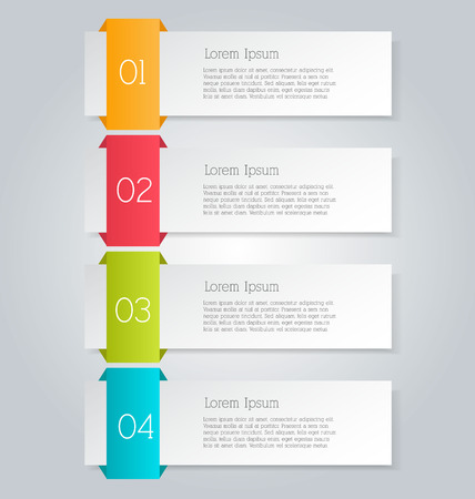 Business infographics tabs template for presentation, education, web design, banners, brochures, flyers. Brown and pink colors. Vector illustration. Ilustracja