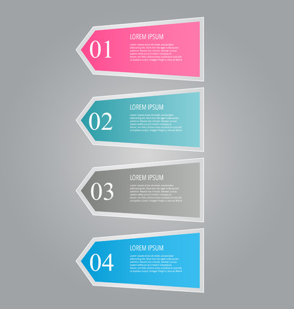 tabs: Business infographics template for presentation, education, web design, banners, brochures, flyers. Blue, green, grey and black tabs. Vector illustration.