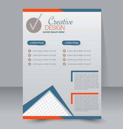 blank magazine: Flyer template. Business brochure. Editable A4 poster for design, education, presentation, website, magazine cover. Blue and orange color. Illustration