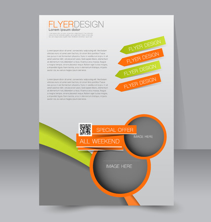 editable: Flyer template. Business brochure. Editable A4 poster for design, education, presentation, website, magazine cover. Green and orange color.