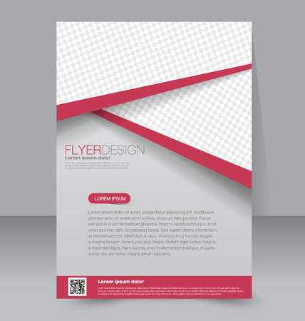front page: Flyer template. Business brochure. Editable A4 poster for design, education, presentation, website, magazine cover. Red color.